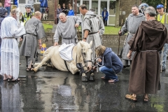 1 HORSE SLIPS DOWN AT RIPON ST WILFREDS DAY PARADE