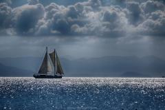 D BOAT IN AEGAEN SEA by Willem Van Herp
